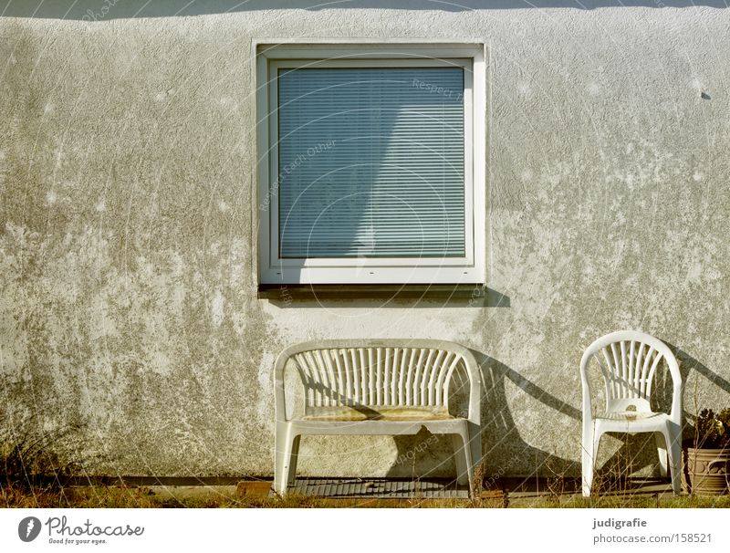 Sylt Window House (Residential Structure) Chair Bench Garden Front garden Gloomy Seating Gray Light Shadow Detail Colour Things