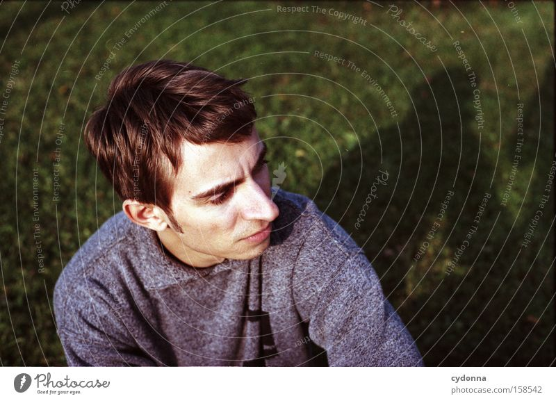 individualist Human being Man Youth (Young adults) Portrait photograph Face Meadow Garden Earnest Think Thought Emotions Shadow Character Concentrate Beautiful