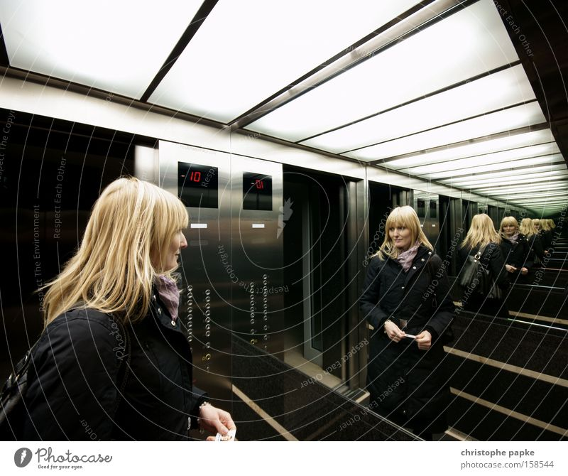 Mirror on the wall Reflection Wide angle Looking Beautiful Woman Adults Elevator Blonde Infinity