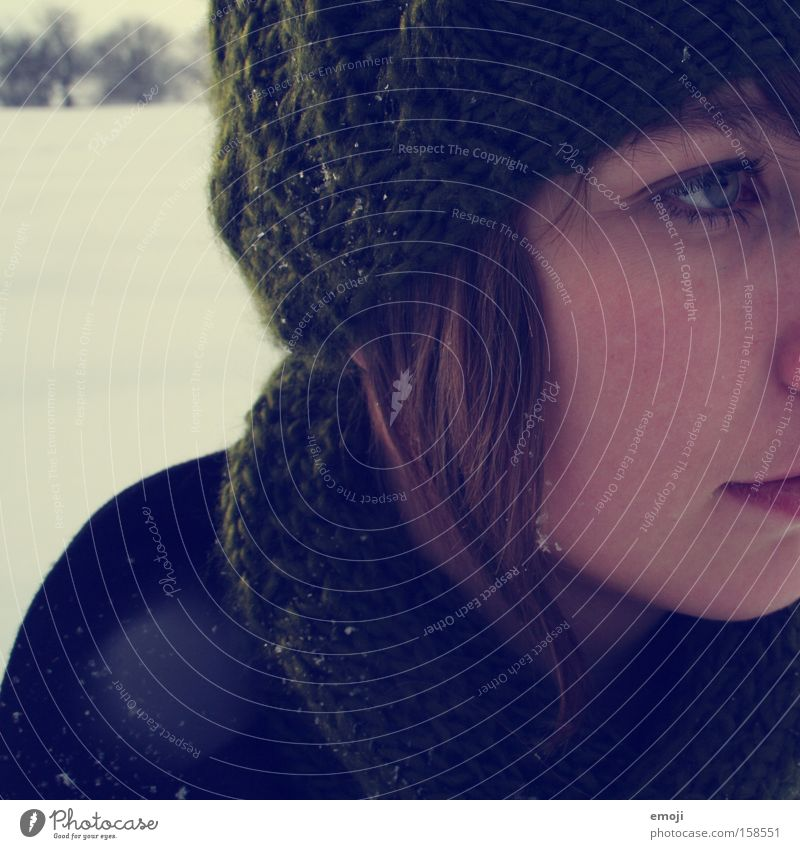 Woman Youth (Young adults) Winter Face Cold Snow Snowfall Cap Side Half Scarf Snowflake Young woman Flake Wrap up warm
