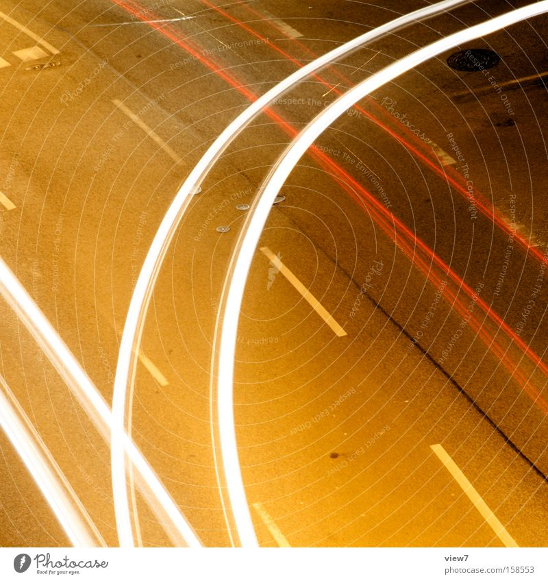 cornering Curve Driving Light Motor vehicle Transport Crossroads Road junction Turn off Stripe Light (Natural Phenomenon) Glittering Colour Night Sidestreet