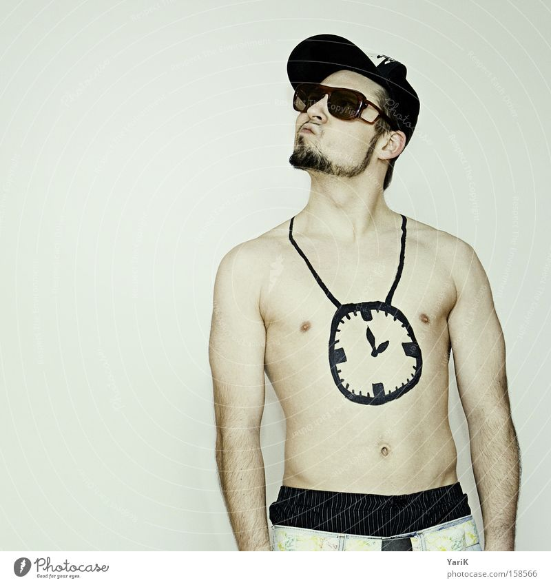 my clock hang low Chain Clock Hang Upper body Man Naked Sunglasses Baseball cap Hip-hop Recitative Chest paint on painted on black Hip & trendy Time