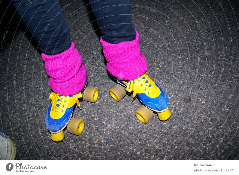 Sports Pink Fashion Lifestyle Retro Night The eighties Magenta Cuffs or leggings Roller skates Bright Colours