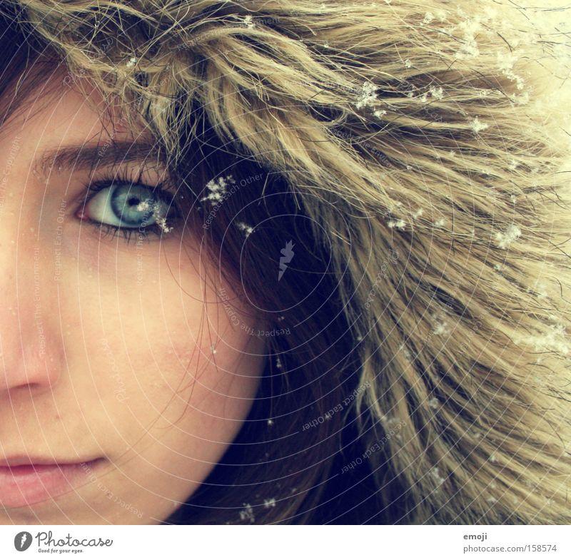 Woman Winter Face Eyes Cold Snow Snowfall Bright Head Pelt Side Half Snowflake Young woman Seasons Flake
