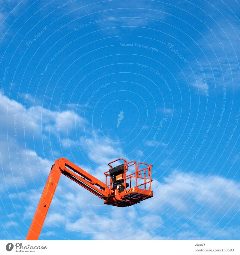 Above Tall Empty Services Upward Equipment Workplace Blue sky Clouds in the sky Skyward Hydraulic Hydraulics Hydraulic lift Bright background