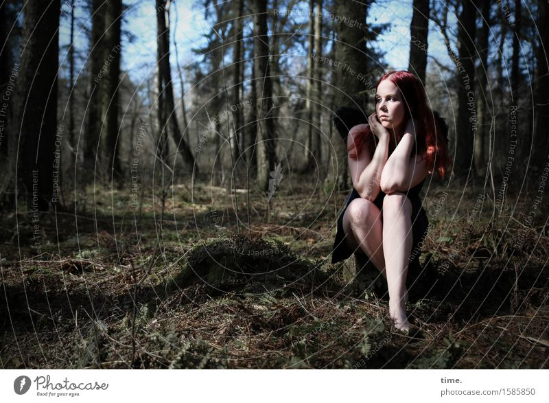 Nika Feminine 1 Human being Environment Nature Landscape Beautiful weather Tree Forest Dress Red-haired Long-haired Observe Think Looking Sit Dream Wait pretty