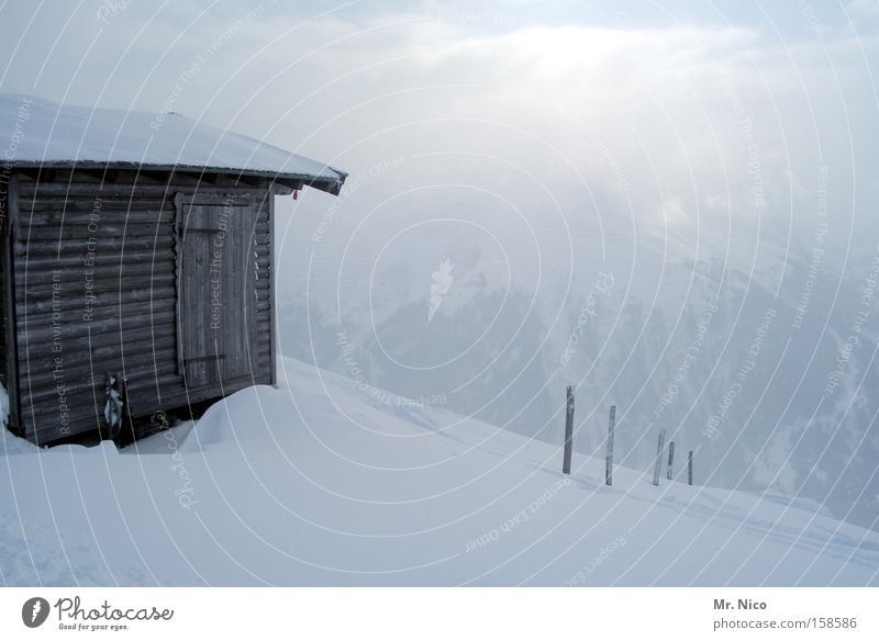 Winter Snow Mountain Fog Alps Hut Austria Snowscape Alpine pasture Federal State of Tyrol Wooden hut Igloo