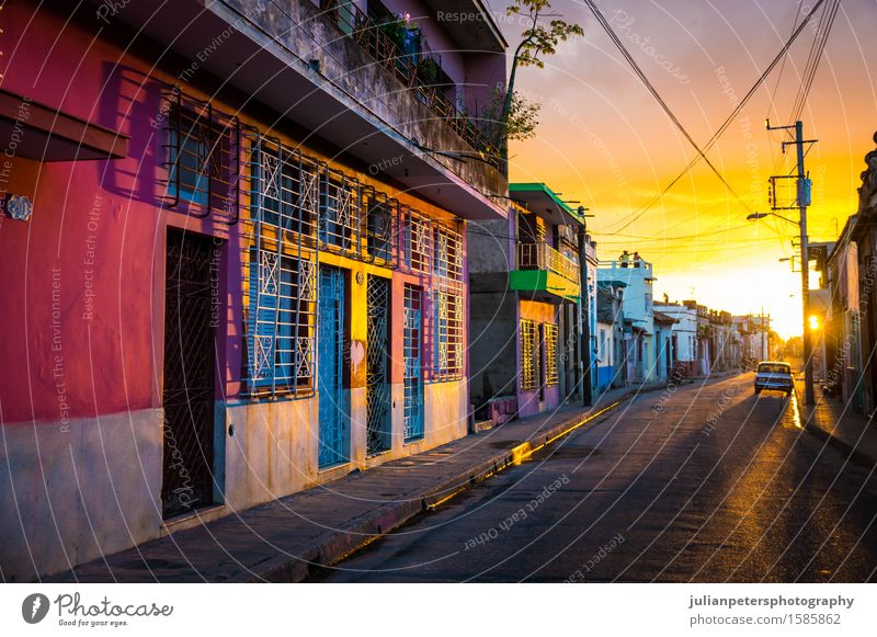 CAMAGUEY, CUBA - Street view of UNESCO heritage city centre Vacation & Travel City Old Red House (Residential Structure) Yellow Architecture Style Building