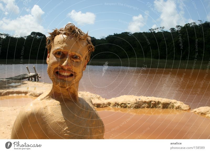 mud man Human being Man Nature Water Beautiful Joy Yellow Lake Brown Dirty Funny Skin Adults Masculine Crazy Watercraft