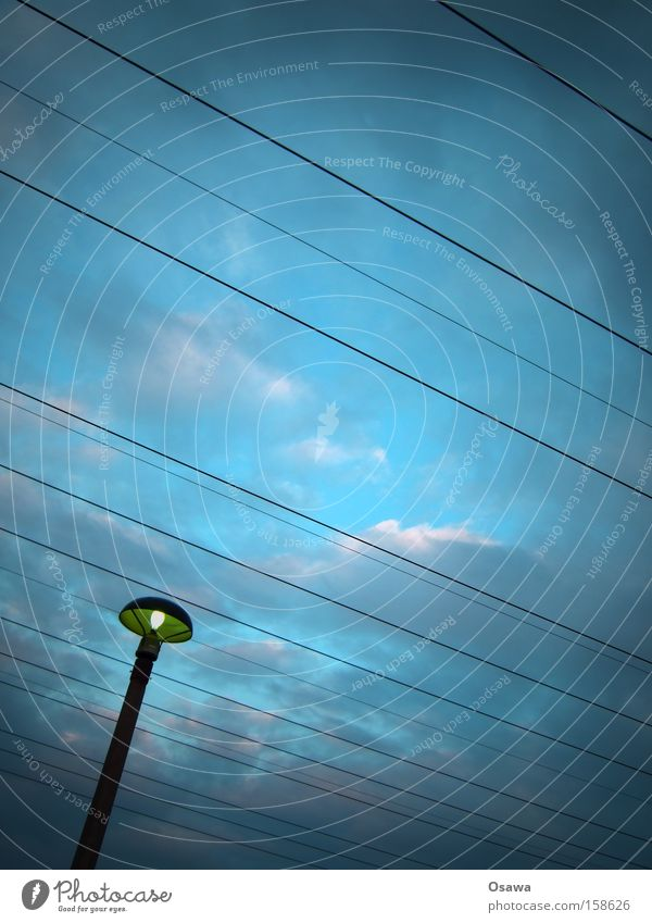 Sky Blue Clouds Line Cable Lantern Steel cable Electricity pylon Street lighting Transmission lines East Overhead line High-power current