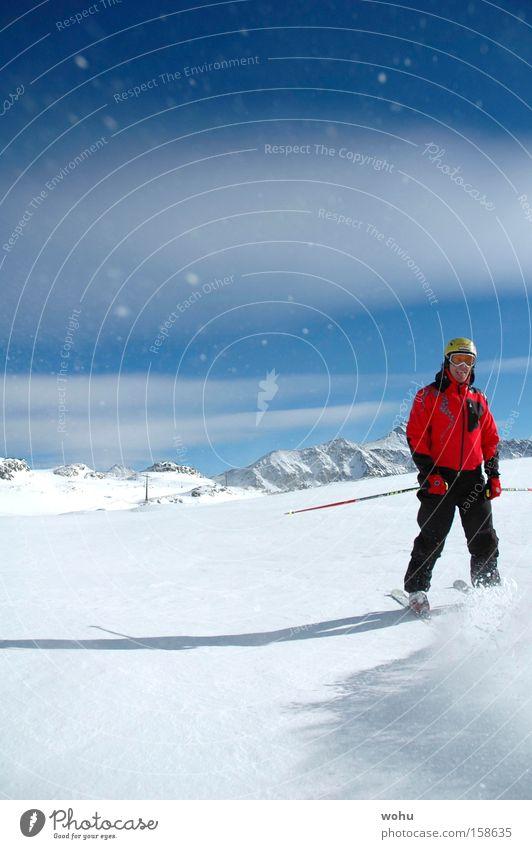 Joy Vacation & Travel Snow Jump Mountain Snowfall Skiing Skis Austria Blue sky Winter sports Deep snow Powder snow