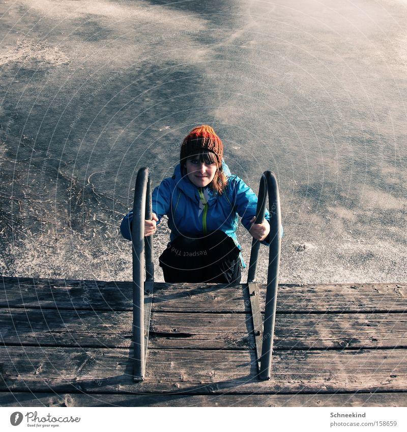 Woman Girl Beautiful Summer Joy Winter Cold Lake Ice Swimming pool Swimming & Bathing Frozen Cap Footbridge Ladder