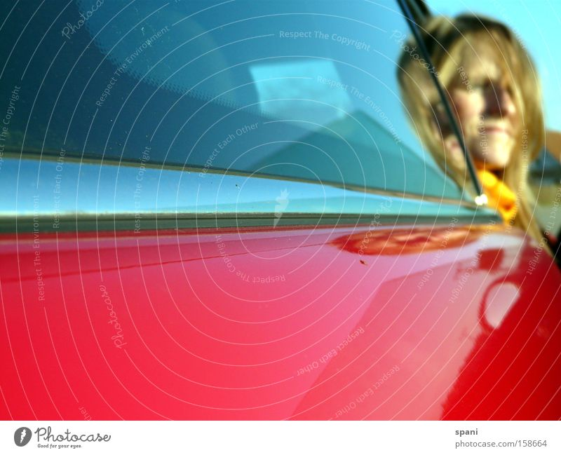 daydream Thought Creativity Border Motor vehicle Red Woman Scarf Multicoloured Reflection Vantage point Daydream Far-off places Transport Car Window pane