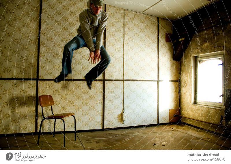 Man Window Jump Line Room Flying Tall Dangerous Aviation Action Threat Chair Derelict Wallpaper Whimsical Sportsperson