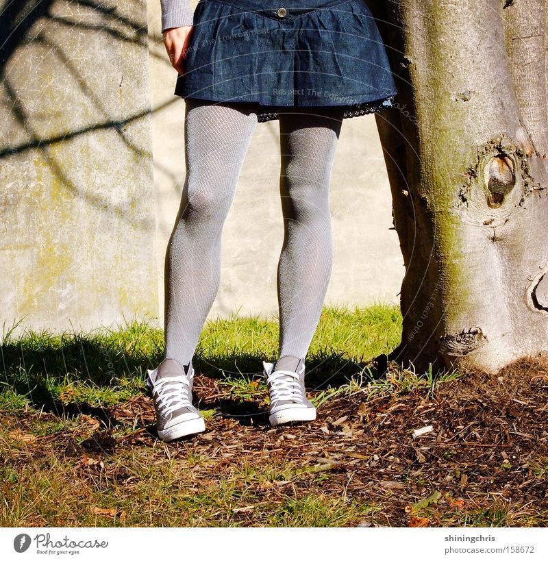 tight(s)! Woman Chucks Tree Shadow Spring Grass Jump Nature Gray Earth Sand Legs stockings skirt tights