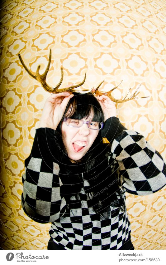 Woman Christmas & Advent Portrait photograph Joy Animal Wild Wallpaper Wild animal Pipe Mammal Antlers Grimace Deer Exuberance Whim