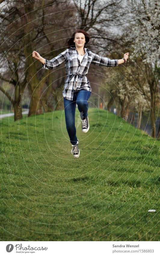 Human being Youth (Young adults) Young woman Tree Healthy Eating Joy Spring Movement Feminine Happy Freedom Health care Jump 13 - 18 years Happiness