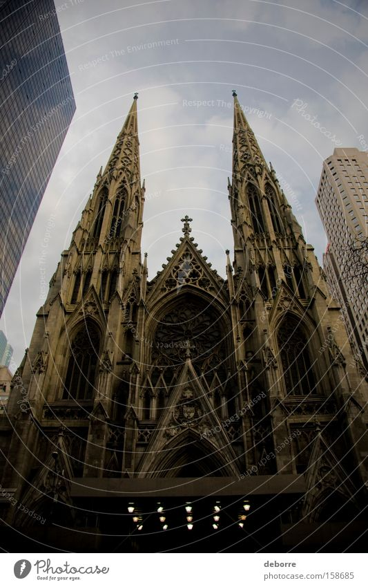 Looking up at St. Patrick's Cathedral in New York City. Sky Town Capital city Downtown Overpopulated Detached house High-rise Church Dome Manmade structures