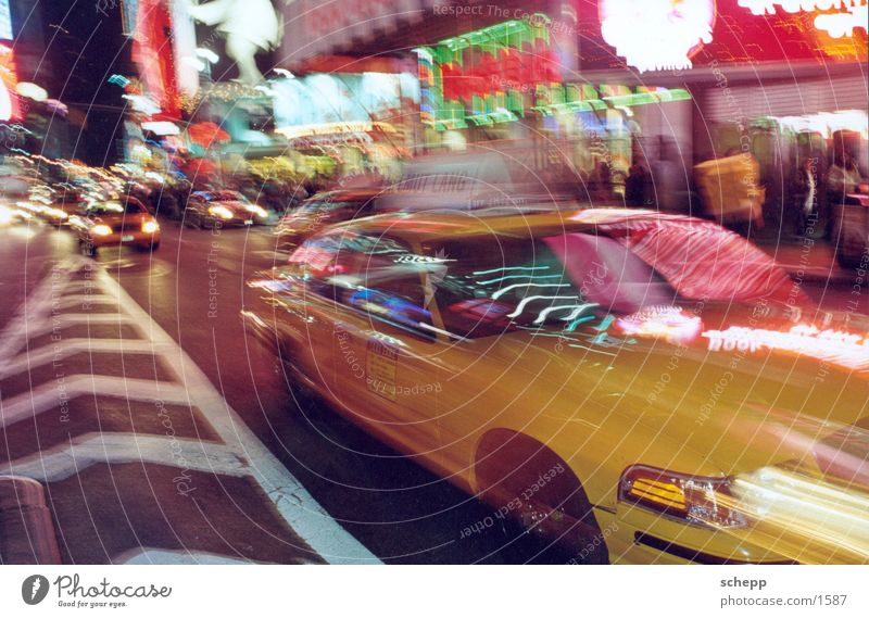 TIMES SQUARE2 Times Square New York City Americas Night Long exposure Action Taxi North America USA Movement
