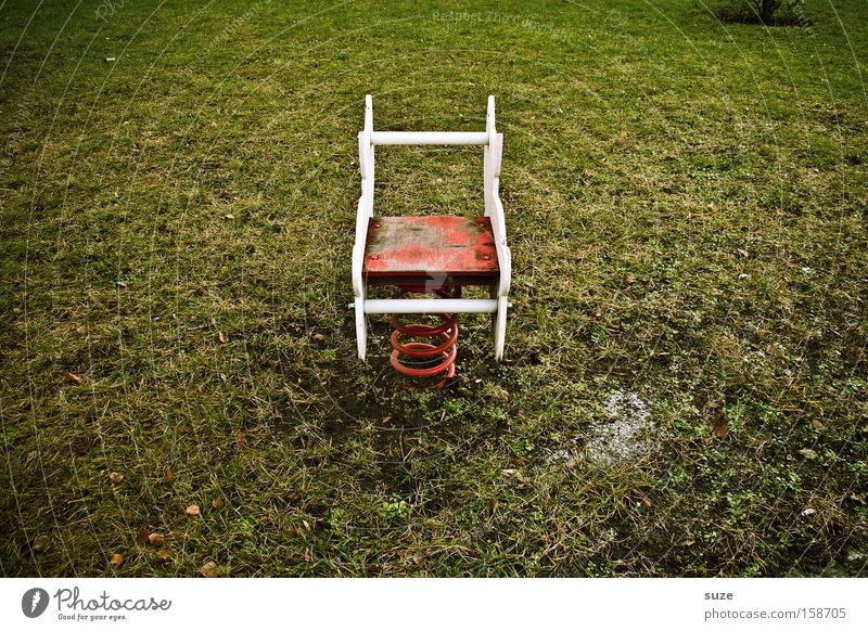 Loneliness Environment Meadow Playing Grass Infancy Leisure and hobbies Empty Lawn Derelict Middle Metal coil Memory Playground Children's game Ride