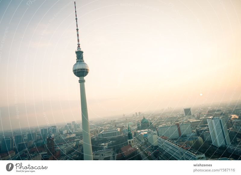 Sunset with TV tower over Berlin Lifestyle Shopping Style Joy Vacation & Travel Tourism Sightseeing City trip Business Television Sky Sunrise Climate Germany