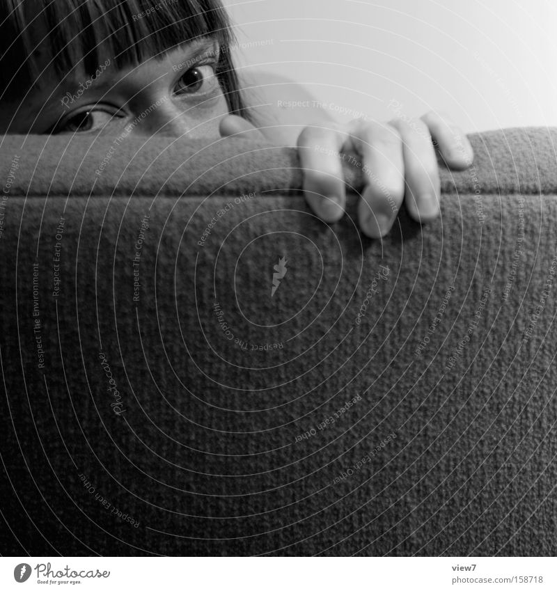secret. Furniture Sofa Woman Adults Eyes Trust Caution Fear Mysterious Hiding place Hide Black & white photo Looking Women's eyes Fingers To hold on