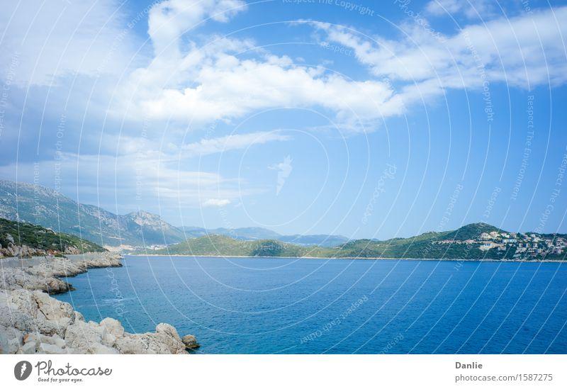 Kas Peninsula across Aegean Sea Inlet in Summer Vacation & Travel Blue Ocean Clouds Street Building Rock Blue sky Visit the Aegean