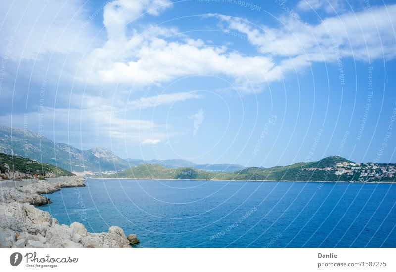 Kas Peninsula across Aegean Sea Inlet in Summer Vacation & Travel Blue Summer Ocean Clouds Street Building Rock Blue sky Peninsula Visit Kas the Aegean