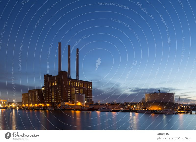 Svanemolle Power Plant in Copenhagen, Denmark City Energy Industry Dusk Ecological Station Environmental pollution Heating Supply Emission Funnel Carbon