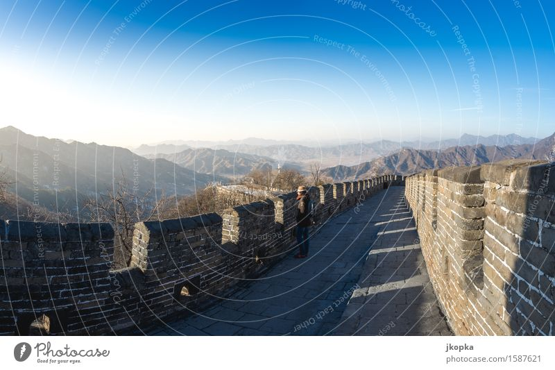 View on the Great Wall of China Vacation & Travel Tourism Adventure Far-off places Freedom Expedition Human being Feminine Young woman Youth (Young adults) 1
