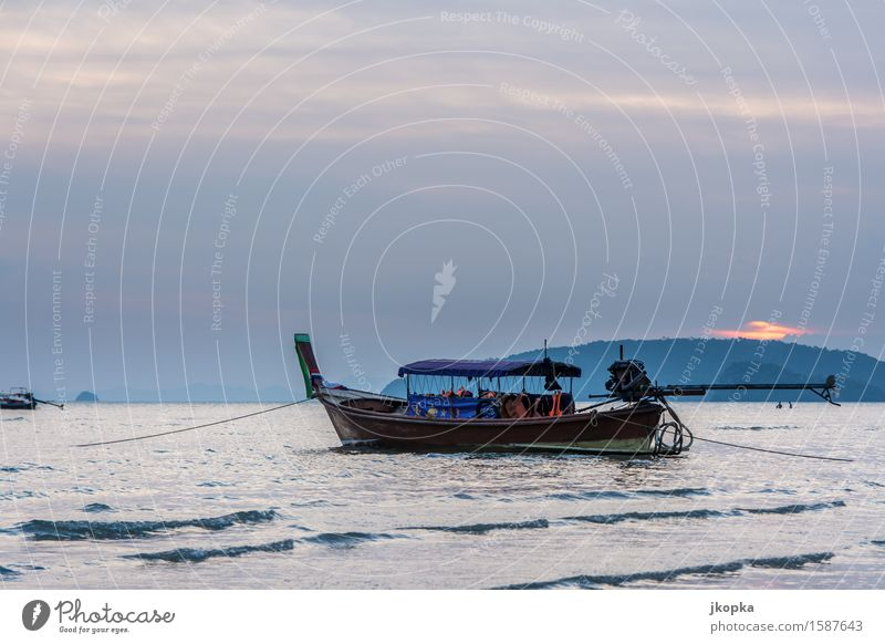 Sky Vacation & Travel Water Ocean Calm Movement Coast Waves Trip Adventure Serene Navigation Means of transport Fishing boat Boating trip Anchor