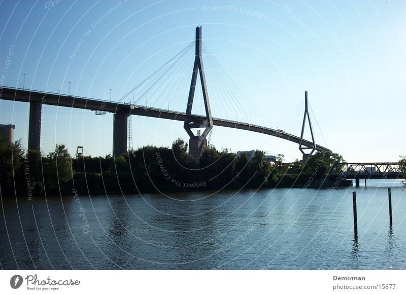 Water Sky Blue Hamburg Transport Bridge Harbour Elbe Traffic jam Kohlbrand bridge