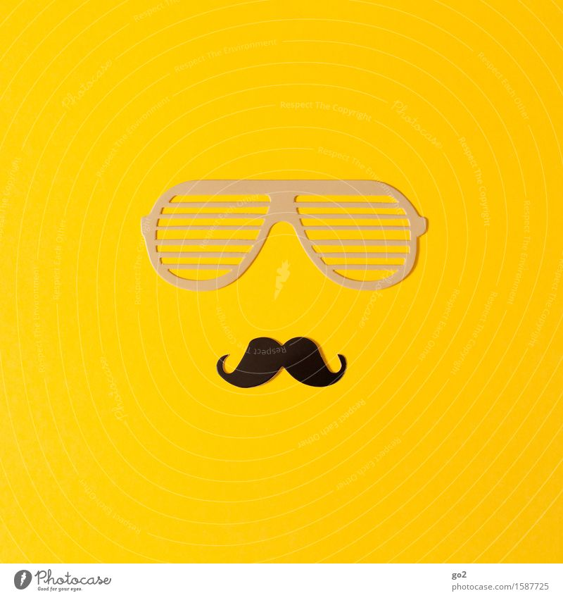 Glasses and beard Lifestyle Style Leisure and hobbies Handicraft Paper Eyeglasses Sunglasses Facial hair Moustache Cool (slang) Uniqueness Yellow Design Macho