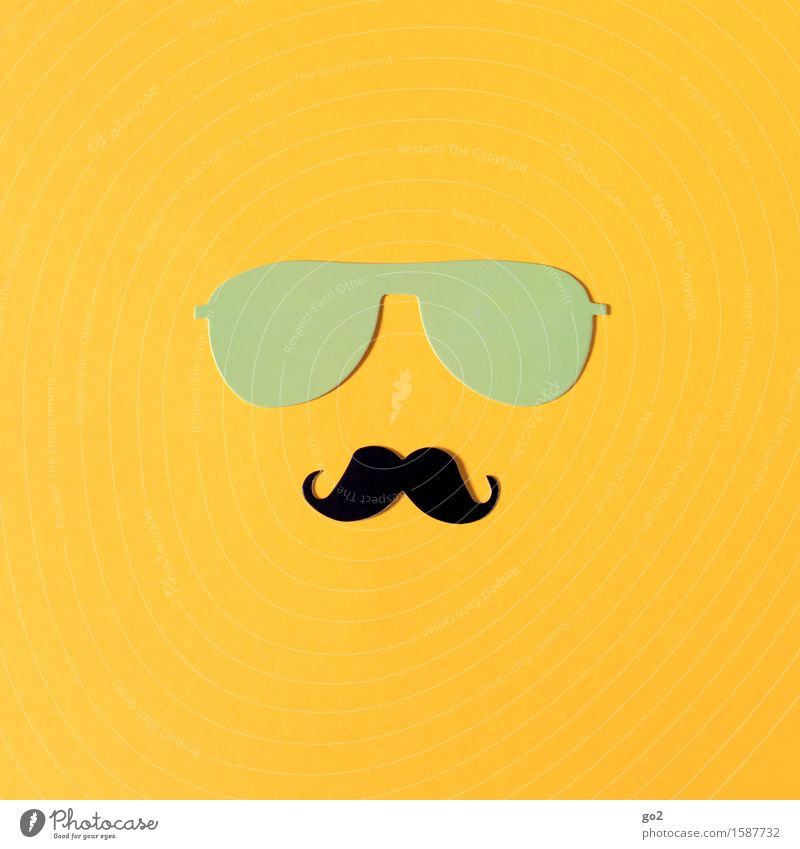 Beautiful Yellow Style Lifestyle Masculine Leisure and hobbies Uniqueness Simple Paper Cool (slang) Hip & trendy Sunglasses Handicraft Identity Accessory Moustache