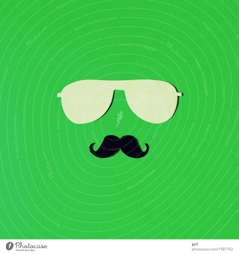 Man Green Adults Masculine Leisure and hobbies Uniqueness Cool (slang) Facial hair Sunglasses Handicraft Identity Accessory Moustache Cliche Macho Machismo