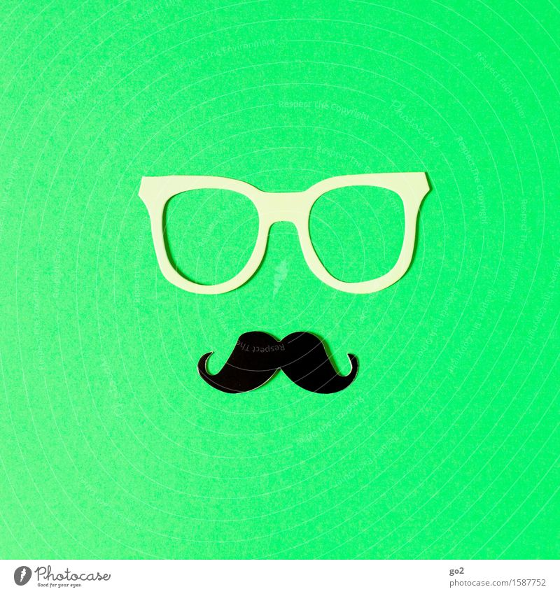 LUC Lifestyle Style Beautiful Personal hygiene Leisure and hobbies Handicraft Masculine Accessory Eyeglasses Moustache Exceptional Uniqueness Cliche Green