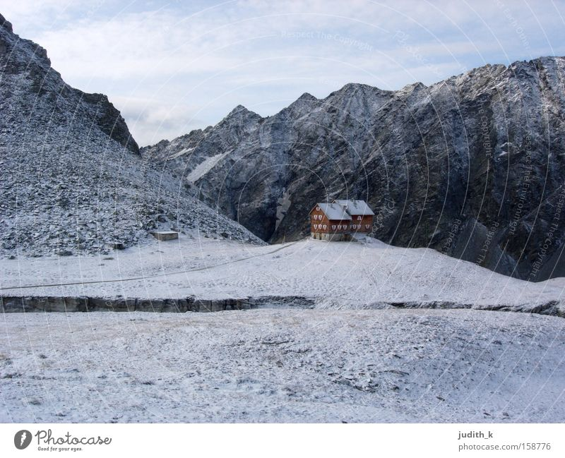 on the huts... Austria Eastern Tyrol Hut Hiking Snow Backpack White Blue Mountain Storage Morning House (Residential Structure) Winter Mountaineering