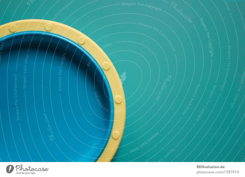 plates Plate Blue Yellow Turquoise Empty Eating Appetite Simple Unicoloured Neutral Background Nutrition Colour photo Interior shot Copy Space right