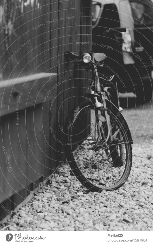 Bicycle at the barn gate Easter Village Deserted Authentic Simple Free Infinity Gray Black White Moody Anticipation Enthusiasm Thrifty Environmental protection