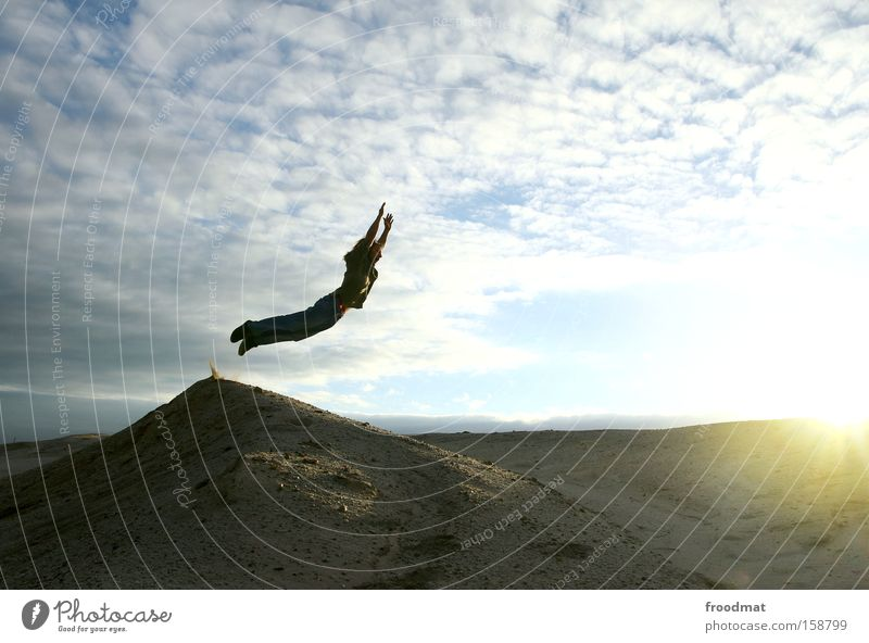 Sky Sun Summer Joy Clouds Freedom Jump Sand Earth Action Hero Desert Moon Dynamics Superman Mining
