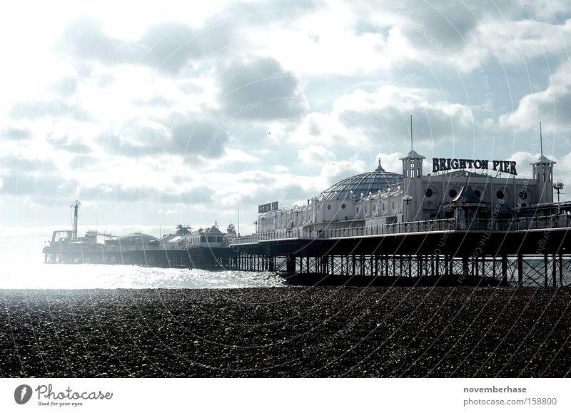 Water White Ocean Blue Beach Clouds Wood Sand Rain Harbour Jetty England Brighton