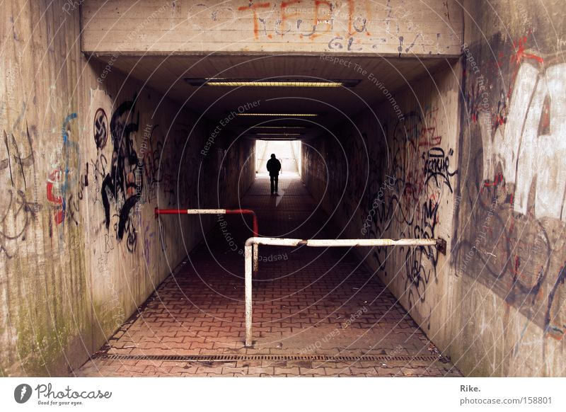 Safe world. Street Tunnel Underground Commuter trains Railroad Train station Town Grief Wall (barrier) Light Graffiti Scene Perspective Art Distress