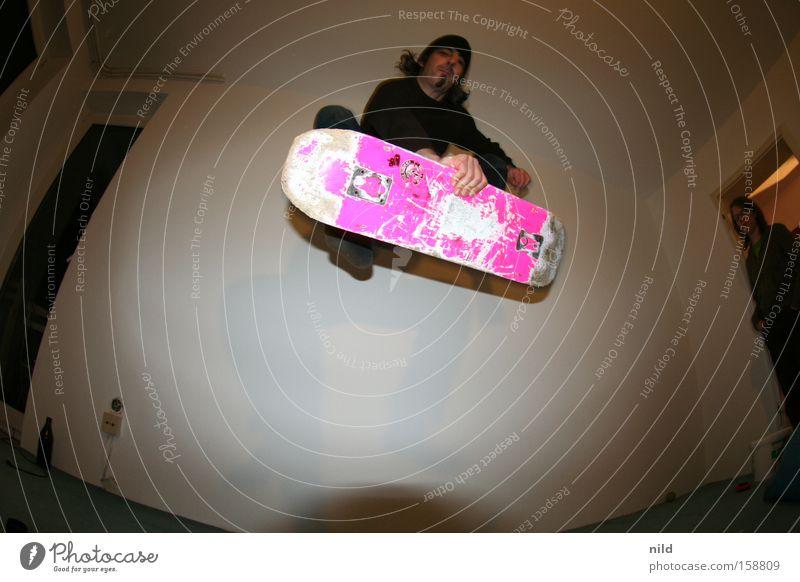 Joy Flat (apartment) Pink Action Skateboarding Skateboard Trick Funsport Parking level Fisheye Sports ground
