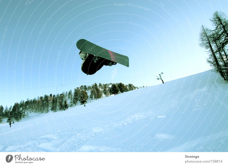 Off through the air Snowboard White Forest Jump Flying Style Winter Winter sports Ski run Individual Ski jump Edge of the forest Powder snow Tall Freestyle