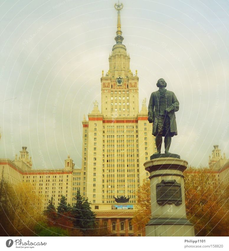 Autumn Academic studies Education Statue Monument Russia Landmark Moscow Nordland Seven Sisters