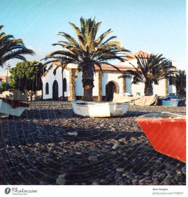 fishing village Village Watercraft Palm tree Church Beach Stone Old Tourism Fuerteventura Medium format Analog House of worship La Lajita