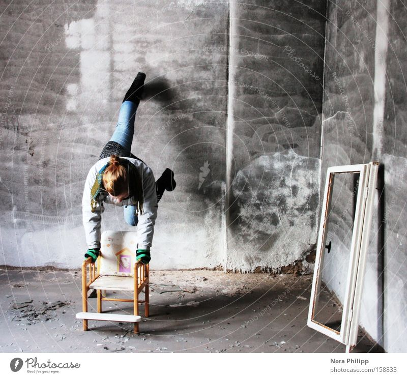 Woman Old Loneliness Wall (building) Room Dirty Walking Factory Chair Broken Derelict Location Handstand Window frame High chair