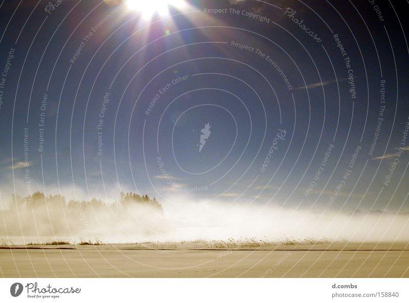 German winter silence Winter Snow Ice Fog Haze Sunlight Landscape Field Sky