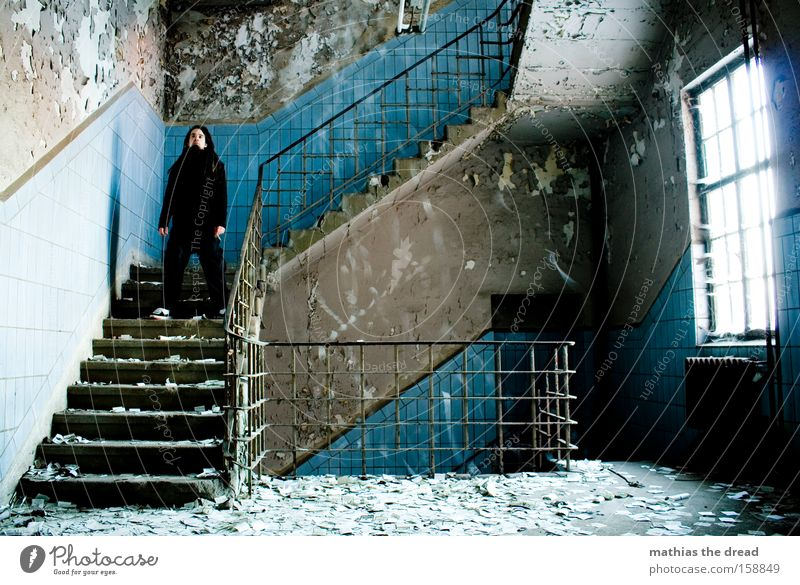 QUIET TRICKLE Man Stand Solidify Calm Tile Blue Window Mystic Old Derelict Chaos Interior design Transience Rain stairwell blurred