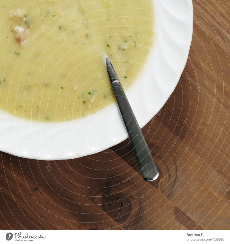 delicious potato soup Soup Potato soup Plate Soup plate Spoon Nutrition Wood Table Spoon up Appetite Edge of a plate Delicious Vegetarian diet Gastronomy